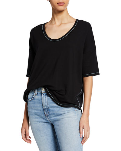 Marlon Scoop-Neck Elbow-Sleeve Tee