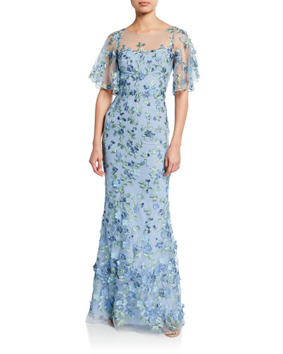 a9683912e345 Sweetheart Illusion Flutter-Sleeve Embroidered Tulle Gown w  3D Flowers  Quick Look. LIGHT BLUE  BLACK WHITE. Marchesa Notte