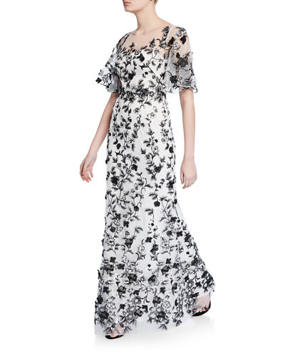 f05ccfb45bf Sweetheart Illusion Flutter-Sleeve Embroidered Tulle Gown w/ 3D Flowers