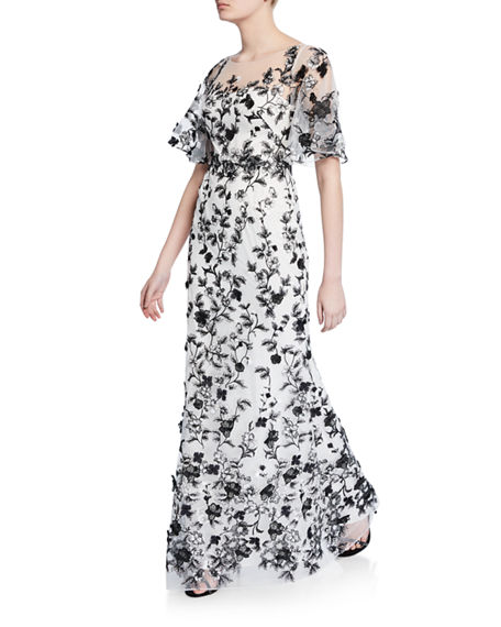281d1f24 Marchesa Notte Sweetheart Illusion Flutter-Sleeve Embroidered Tulle Gown W/  3D Flowers In Black