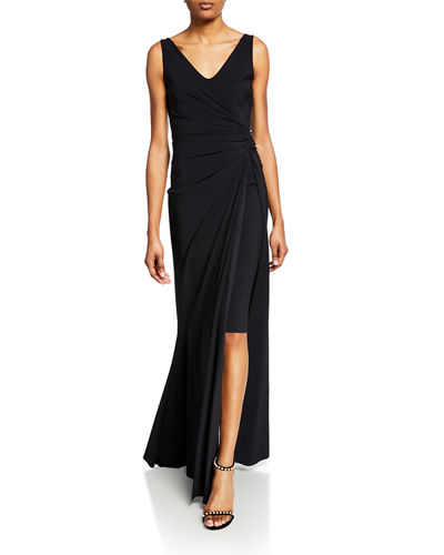 911f23b25ca2b Promotion V-Neck Sleeveless Side-Ruched Gown w  Slit