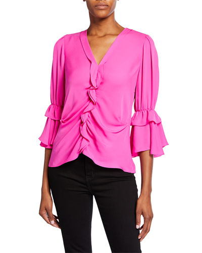 Demy V-Neck 3/4-Sleeve Silk Ruffle Blouse