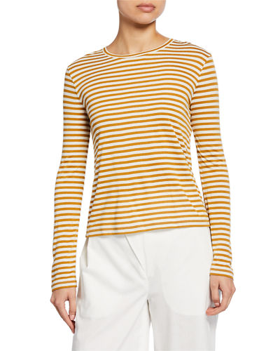 Midi Striped Long-Sleeve Crewneck Tee