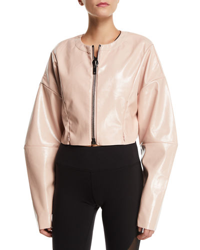 Liquid Cropped Shiny Zip-Front Jacket