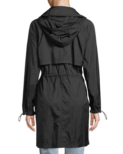 Ellia Packable Long Rain Coat w/ Removable Hood