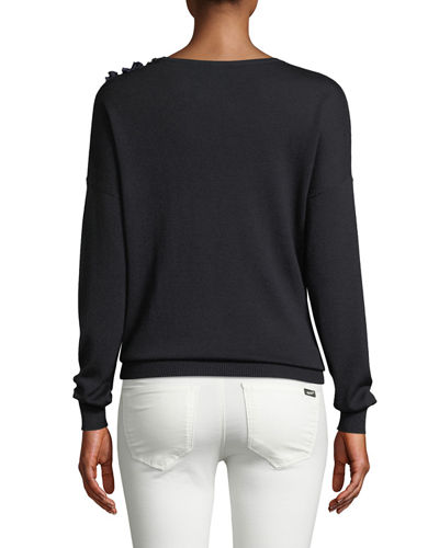 Lael Embellished-Shoulder Sweater