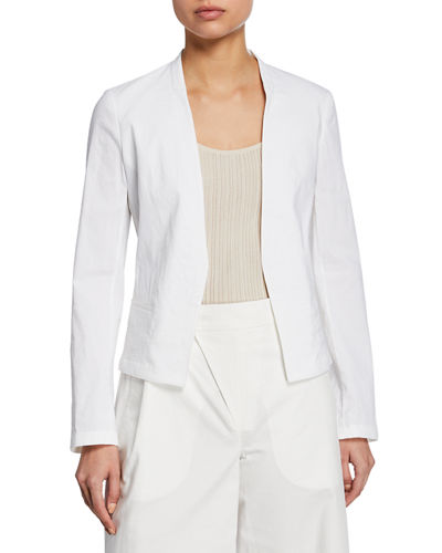 Eco Crunch Wash Open-Front Clean Blazer