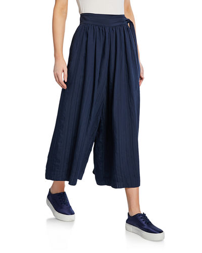 Pleated Side-Tie Culottes