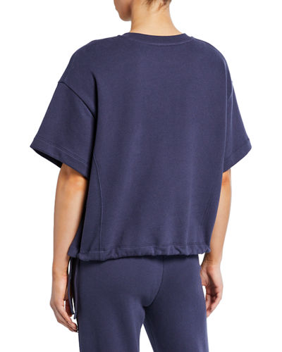 Crewneck Wide-Sleeve Drawcord Pullover