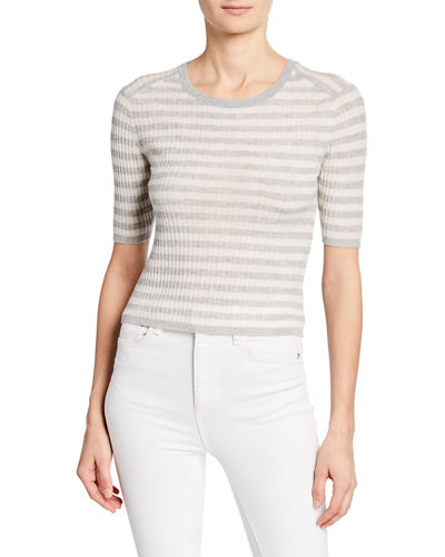 Striped Elbow-Sleeve Cashmere Top