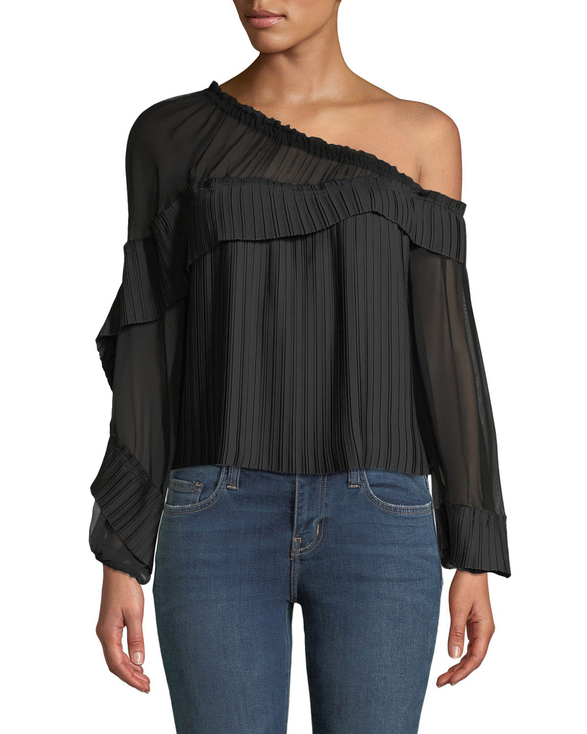 Ramy Brook Tops AURORA ONE-SHOULDER PLEATED LONG-SLEEVE TOP