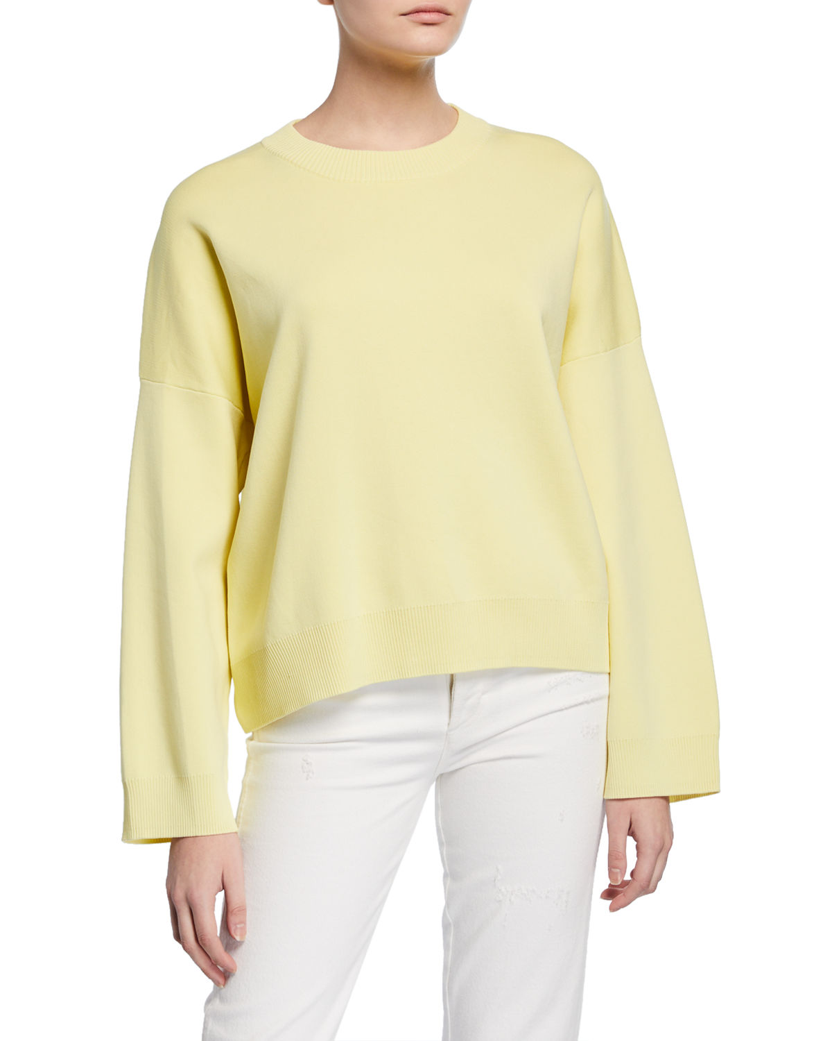 Vince Tops CREWNECK LONG-SLEEVE BOXY WASHED COTTON TOP