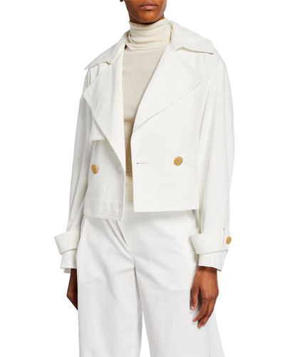 Cropped Belted Linen-Cotton Jacket
