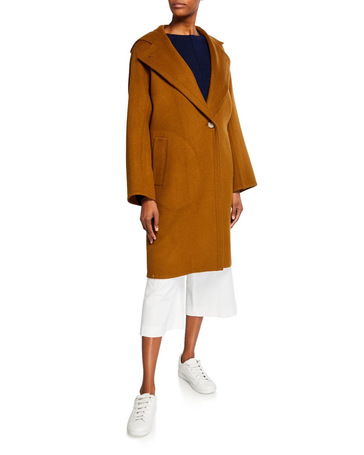 Vince Coats ONE-BUTTON HOODED WOOL COAT