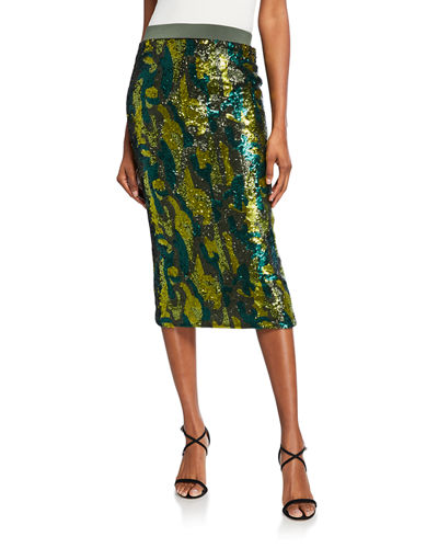 Liza Sequin Bodycon Midi Skirt