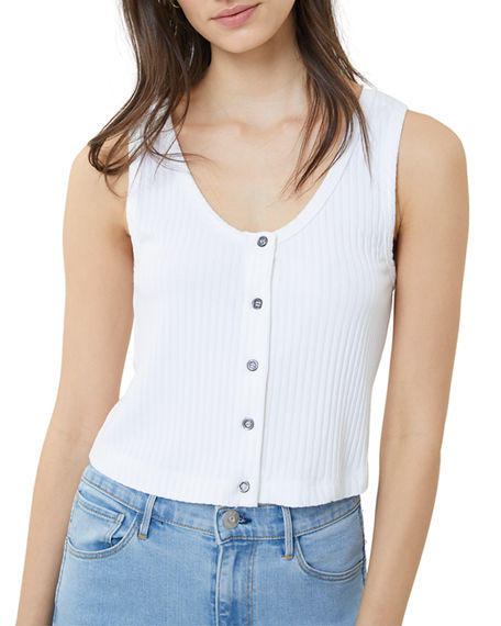 3x1 Tops DOLLY BUTTON-FRONT RIBBED CROP TANK