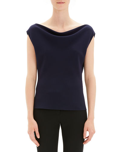 556eaab807a3 Draped Boat-Neck Classic Crepe Top