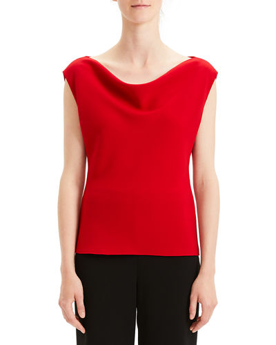 Draped Boat-Neck Classic Crepe Top