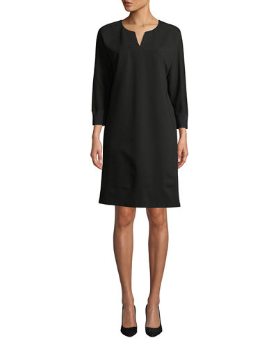 Thoren Shift Dress with Knit Trim