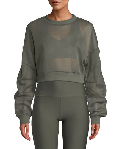 Row Mesh Sheer Cropped Pullover Sweatshirt