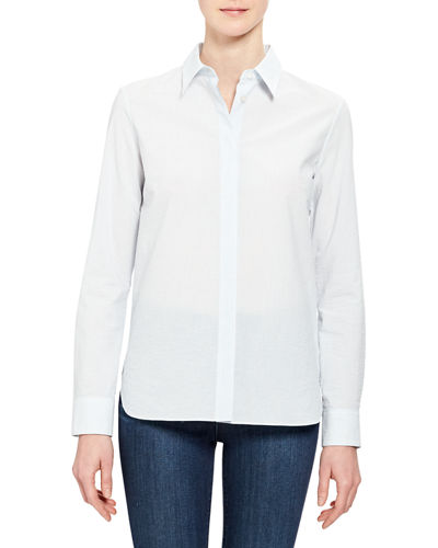 Button-Front Long-Sleeve Straight Cotton Shirt
