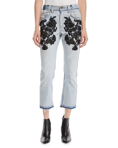 Superbe Embellished Straight-Leg Jeans