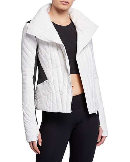 Blanc Noir Jackets Motion Paneled Puffer Jacket, WHITE/GRAY