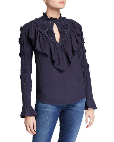 Fluid Jersey Eyelet-Embroidered Ruffle Blouse