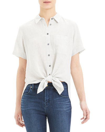Hekanina Button-Down Tie-Front Short-Sleeve Top