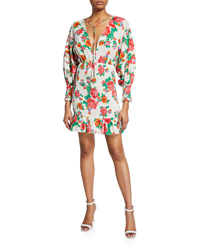 Anya Floral Smocked Flounce Dress