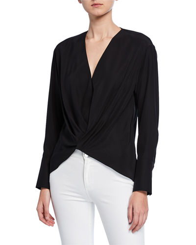 Ellarose Long-Sleeve Twist-Front Matte Silk Blouse