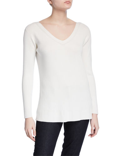 c0505bc5564d Wide V-Neck Long-Sleeve Matte Crepe Sweater Quick Look. CLOUD  SPICE. Lafayette  148 New York