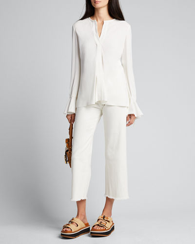 Bell-Sleeve Button-Down Blouse