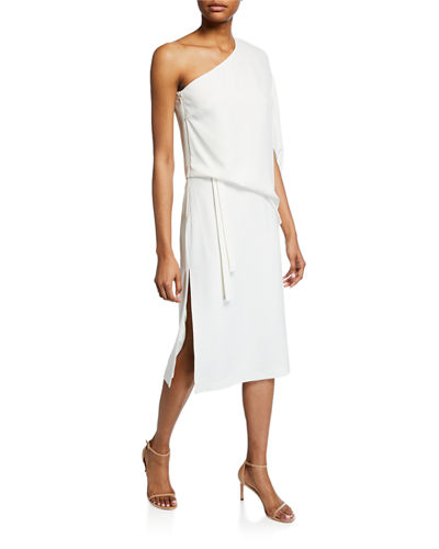 Draped Asymmetric-Sleeve Midi Crepe Dress