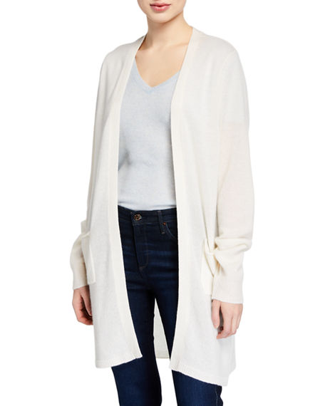 Atm Anthony Thomas Melillo Tops TWO-POCKET OPEN-FRONT MID-LENGTH CASHMERE CARDIGAN