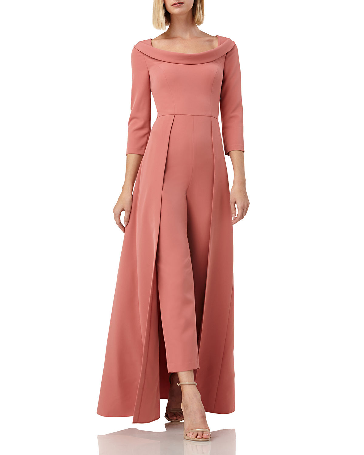 Kay Unger Suits Walk Thru Boat-Neck 3/4-Sleeve Jumpsuit w/ Crepe Overlay Skirt, DEEP ROSE