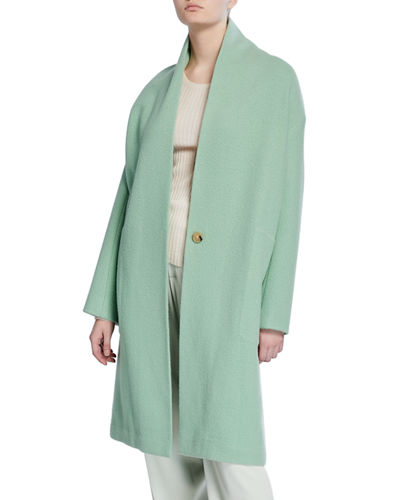 Collarless Long Wool Coat