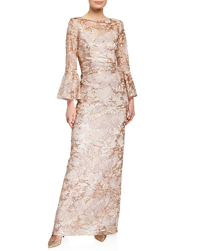 082fd4389a7 Sequin Lace Trumpet-Sleeve Gown Quick Look. BEIGE. Rickie Freeman for Teri  Jon