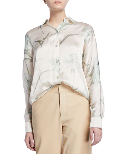 Iris-Print Long-Sleeve Silk Blouse