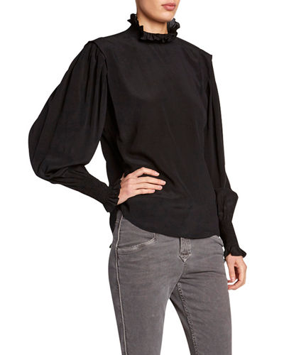 Yoshi High-Neck Silk Blouse