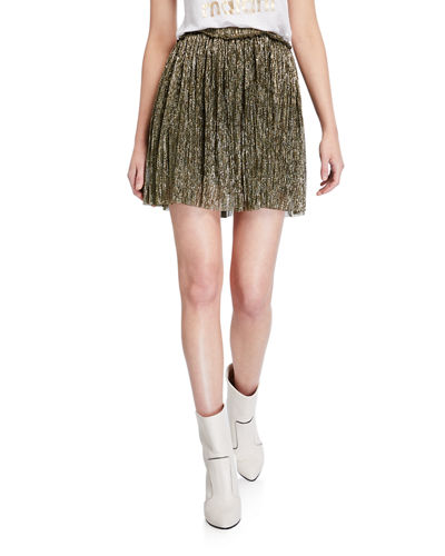 Benedicte Pleated Metallic Short Skirt