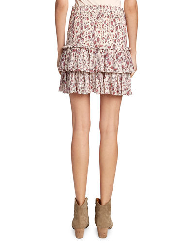 Naomi Smocked Floral Tiered Skirt