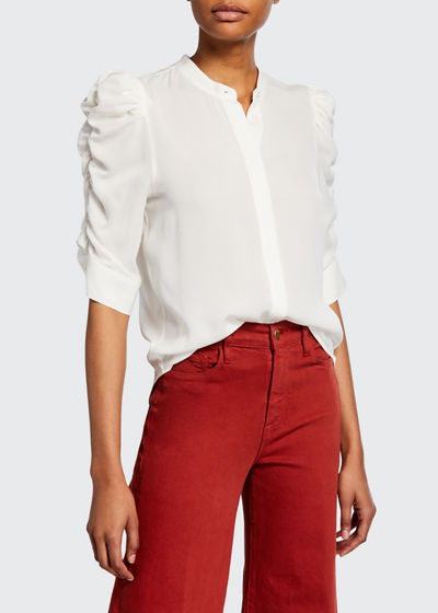 Shirred-Sleeve Button-Down Top