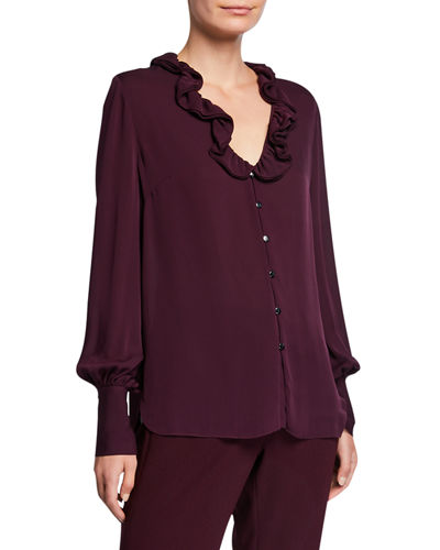 Azra Silk Button-Down Long-Sleeve Blouse