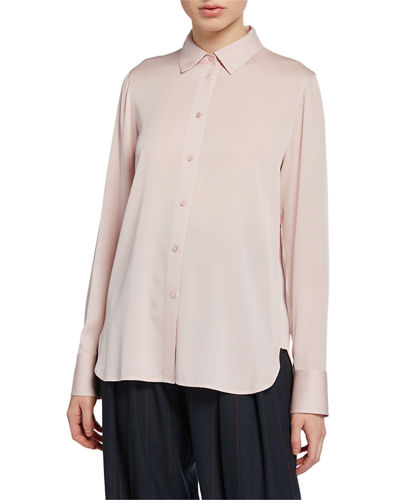 Stretch-Silk Slim Blouse