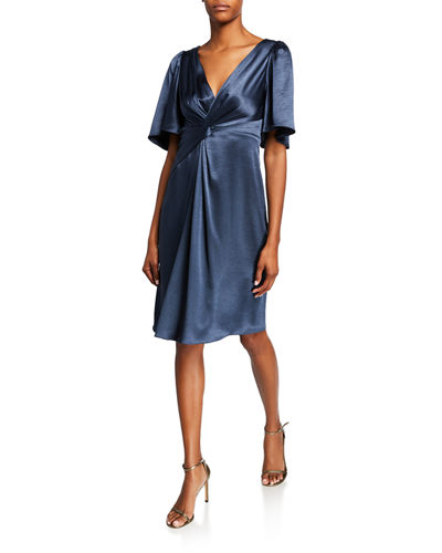 Silvana V-Neck Elbow-Sleeve Satin Cocktail Dress