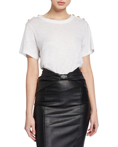 Carla Short-Sleeve Crewneck Tee with Buttoned Shoulders