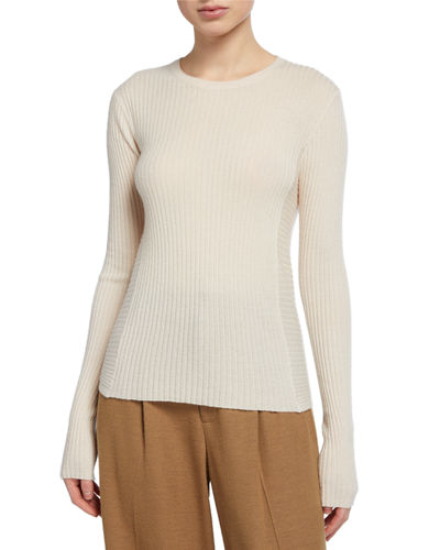Directional Rib Crewneck Cashmere Pullover