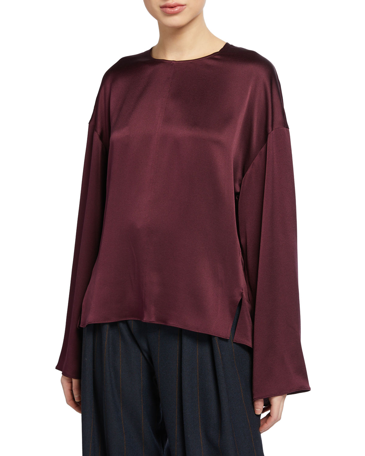 Vince Tops SEAMED-FRONT LONG-SLEEVE SILK BLOUSE