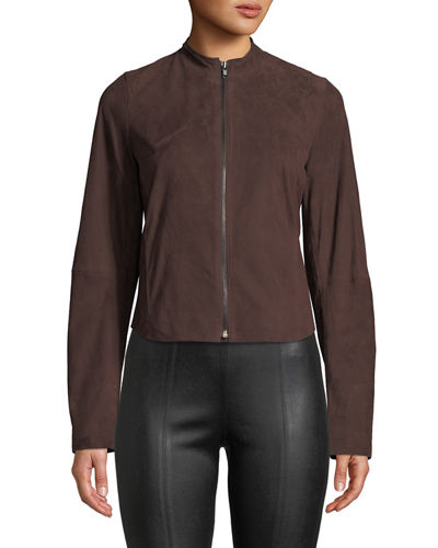 Cropped Zip-Front Suede Moto Jacket